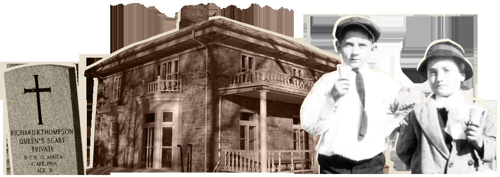 Pierre tombale : Michel Riberdy // Maison Scott-Fairview : Michel Riberdy // Enfants mangeant de la crème-glacée : Aldège et Eugile Deslauriers,  [192-?]. Centre régional d'archives de l'Outaouais. Fonds famille Wilfrid Deslauriers (P56). Photographe inconnu.