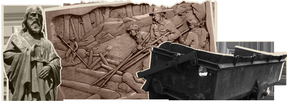 Statut de Saint-Paul d'Aylmer : Michel Riberdy // Draveurs : Photo de l'oeuvre du sculpteur Jean-Julien Bourgault, intitulée Flottage du bois, année : 1967. Auteur : Michel Riberdy // Benne à minerai de la mine Forsyth : Michel Riberdy